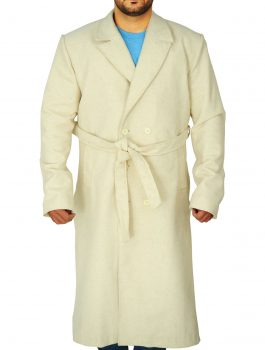 WHITE COAT TRENCH , OFF WHITE COAT , BELTED TRENCH COAT