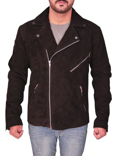 BROWN SUEDE , ZIPPER , BIKER JACKET , INCLINED POCKET
