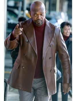 Samuel L. Jackson Shaft Brown Leather Blazer