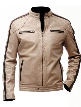 Mens Beige Biker Leather Jacket
