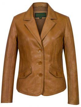 Ladies-Tan-Leather-Blazer-Jess-back