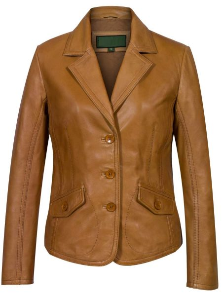 Ladies-Tan-Leather-Blazer-Jess-back