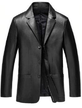 Mens Classic Black Leather Blazer