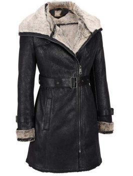 Dirty-White-Fur-Black-Leather-Womens-Trench-Jacket