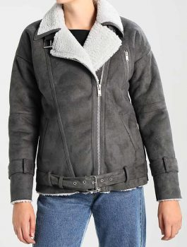 Grey-Leather-Womens-Faux-Shearling-Motorcycle-Jacket