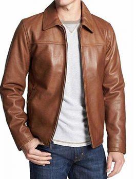 Mens-Brown-Casual-Shirt-Collar-Jacket