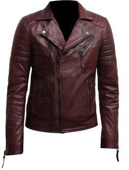 Mens-Double-Zip-up-Burgundy-Bikers-Leather-Jacket.