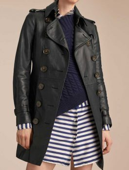 Mid-Length-Womens-Double-Breasted-Black-Leather-Trench-Coat