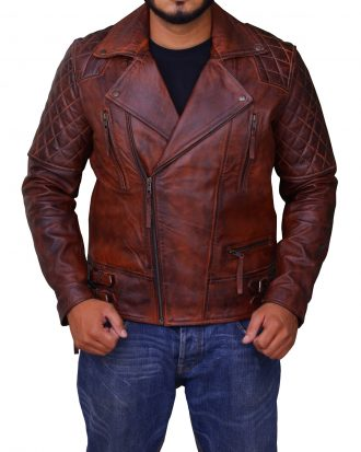Classic Diamond Motorcycle Brown Jacket