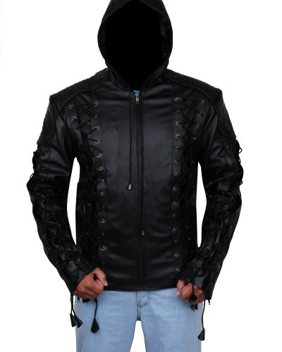 Men leather Hoodie Jacket