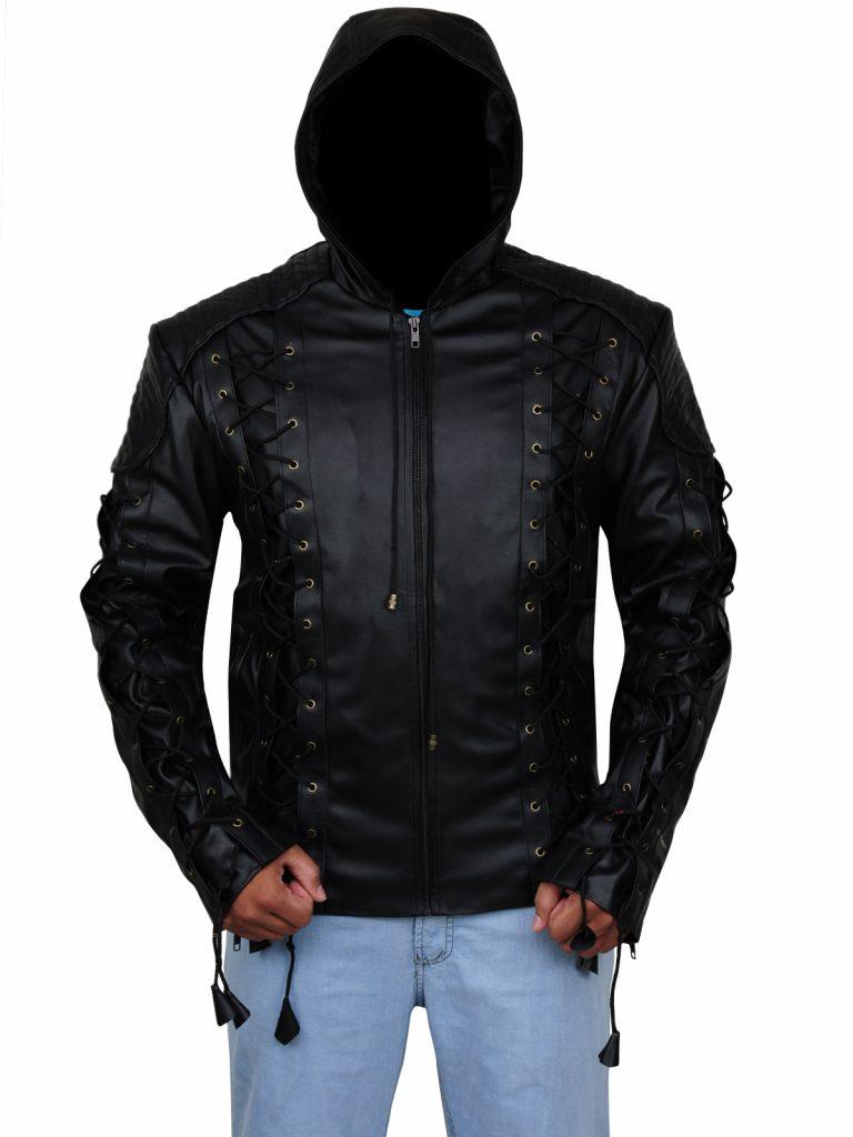 Men leather Hoodie Jacket