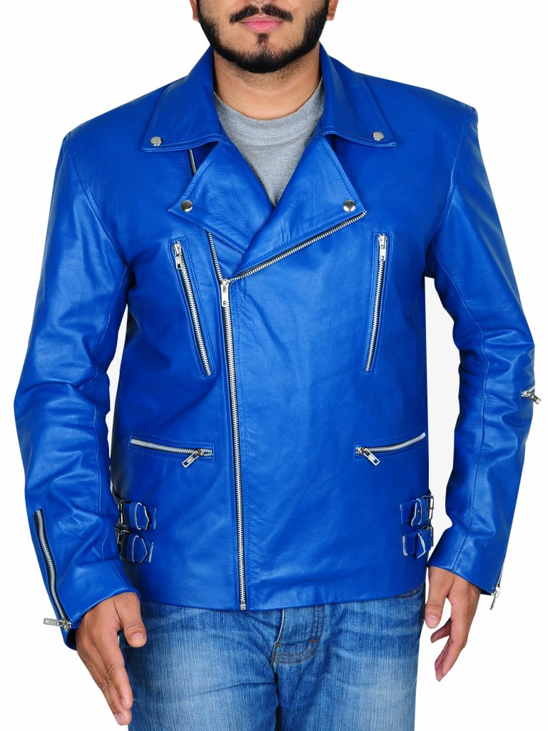 Electric Blue Biker Leather Jacket