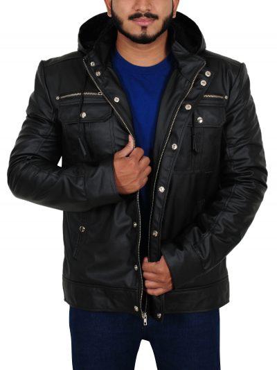 Mens Black Leather Hoodie Jacket
