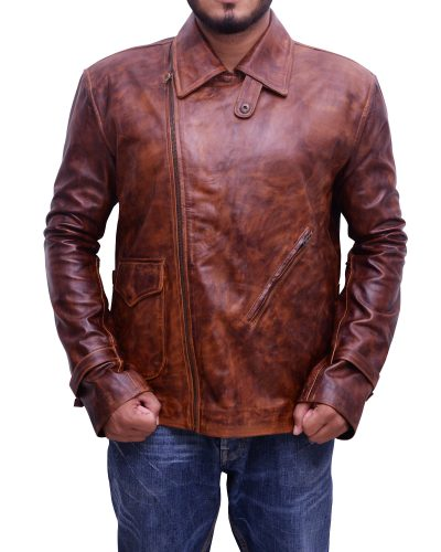 Mens Classic Vintage Distressed Leather Jacket