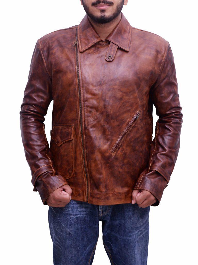 Mens Classic Vintage Distressed Leather Jacket