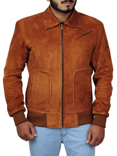 Stylish Brown Suede Leather Jacket