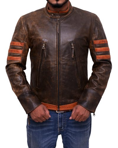 Vintage Leather Distressed Brown Jacket