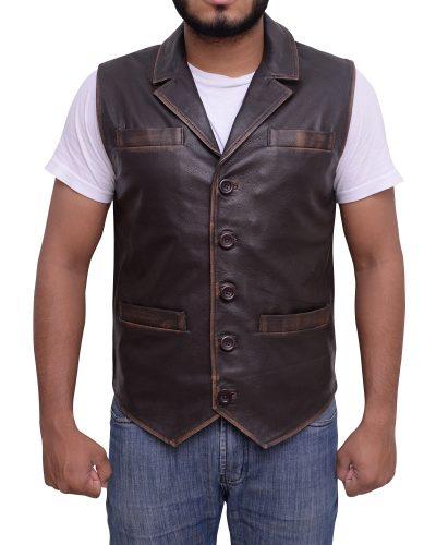 Vintage Style Rub Buff Brown Leather Vest