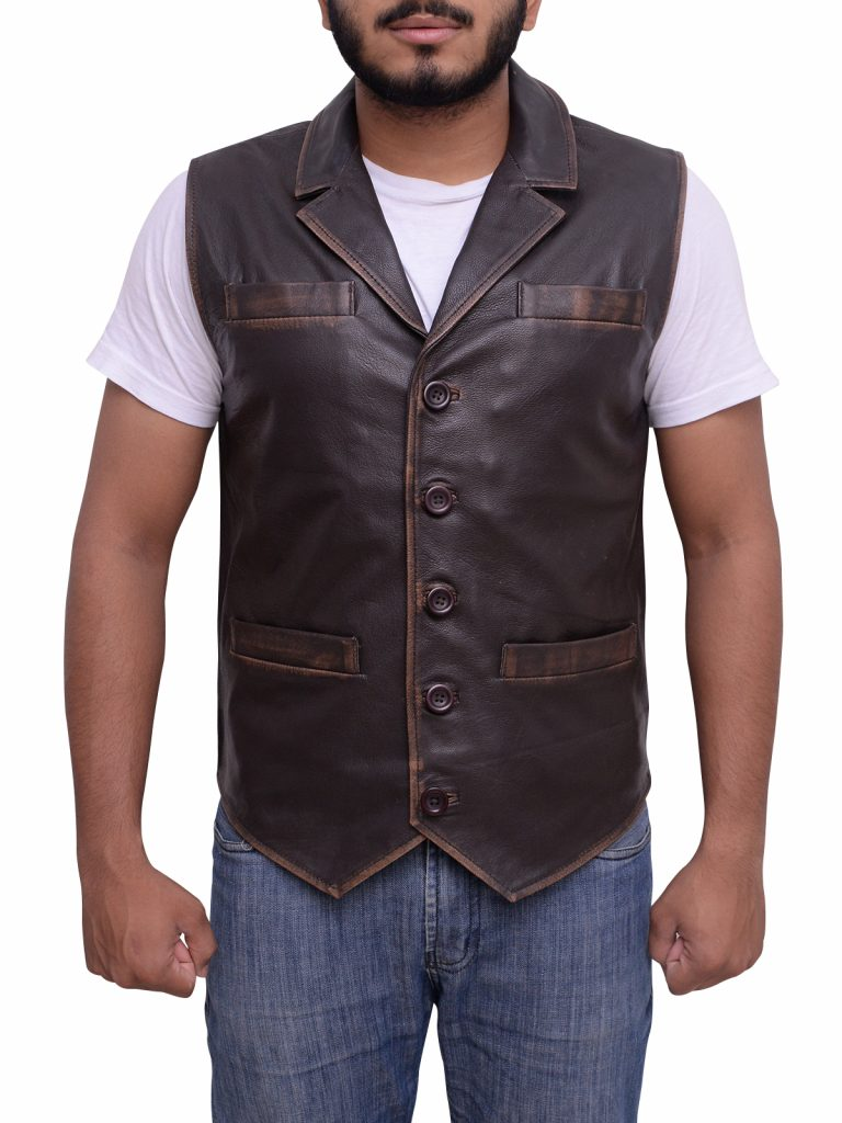Vintage Style Rub Buff Brown Leather Vest