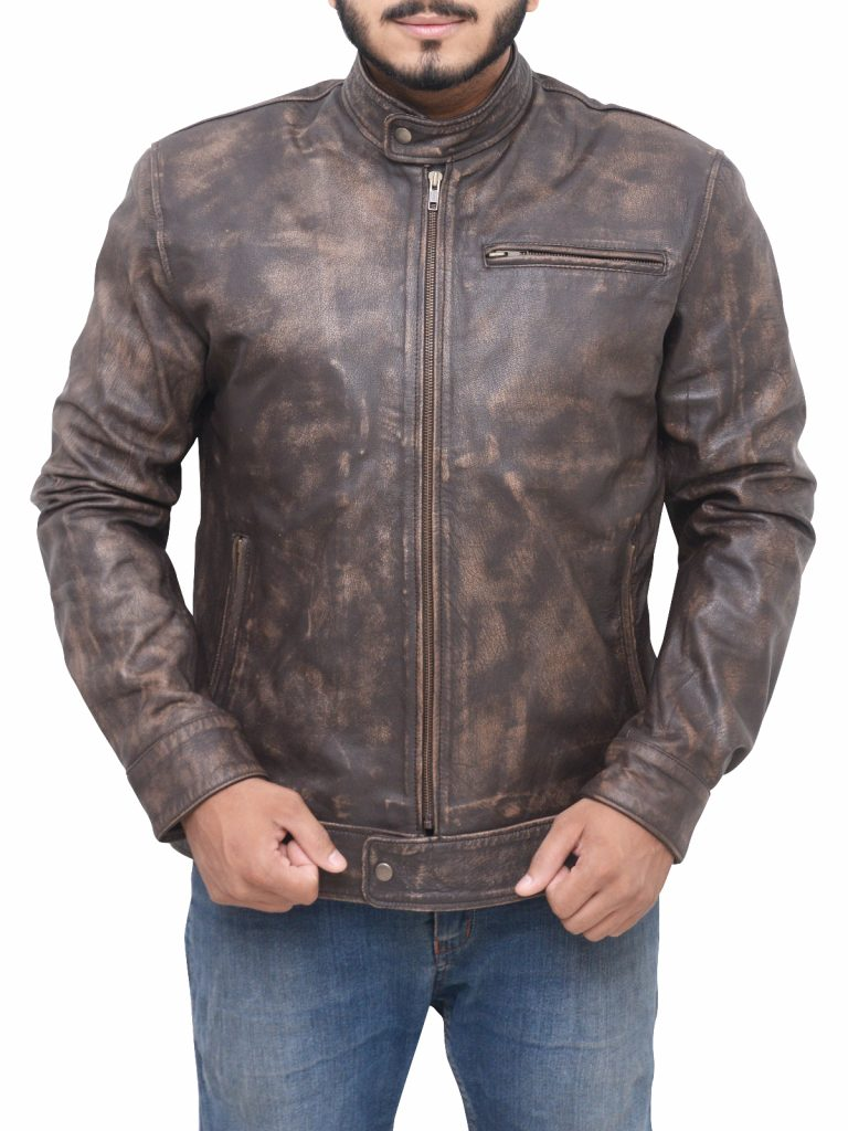 Men's Distressed Leather Jacket