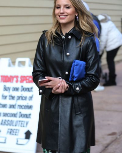 Dianna Agron Black Leather Jacket