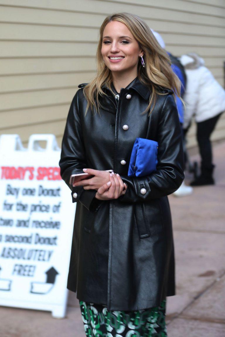 Dianna Agron Black Leather Jacket