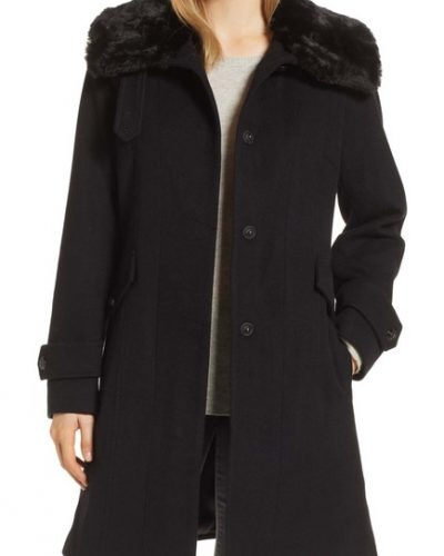 Wool Blend Faux Fur Coat