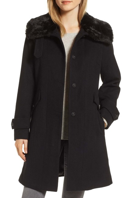 Wool Blend Faux Fur Coat