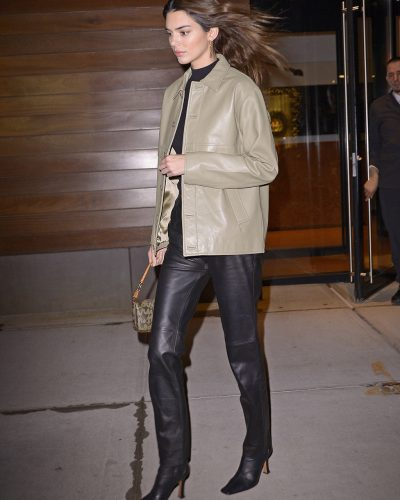 Kendall Nicole Jenner Grey Leather Jacket
