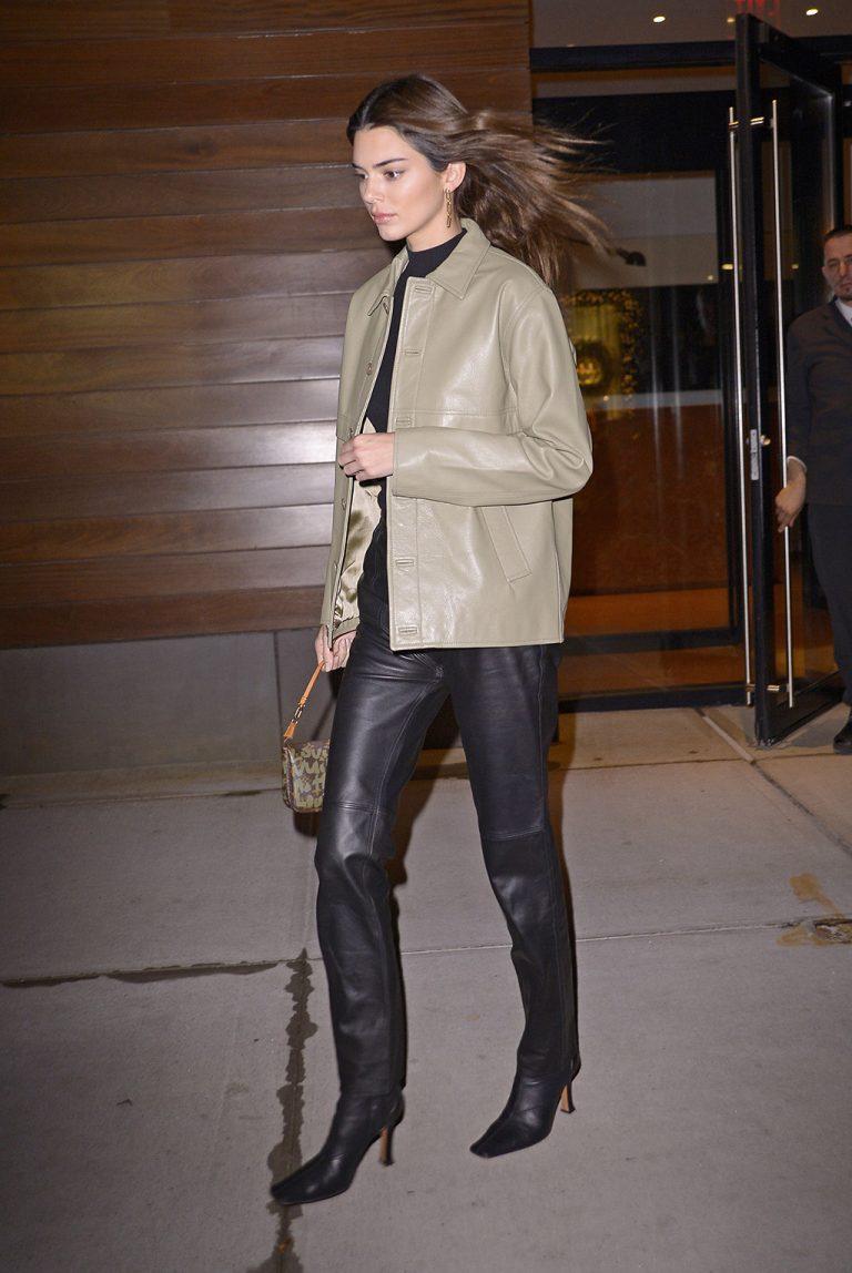 Kendall Nicole Jenner Grey Leather Jacket
