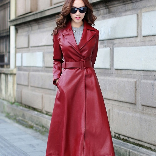 Winter Long Leather Coat for Women's