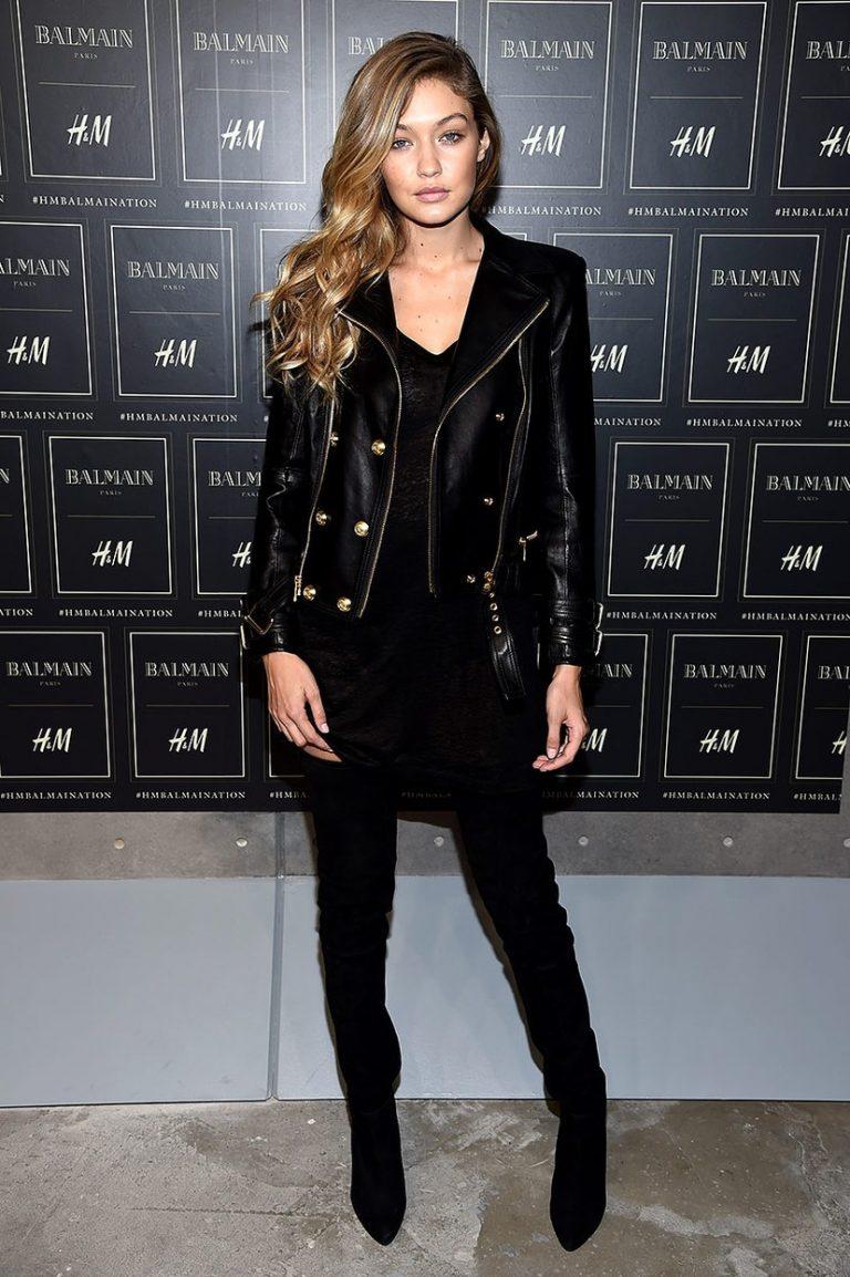 Fashion Model Gigi Hadid BLACK Leather Jacket