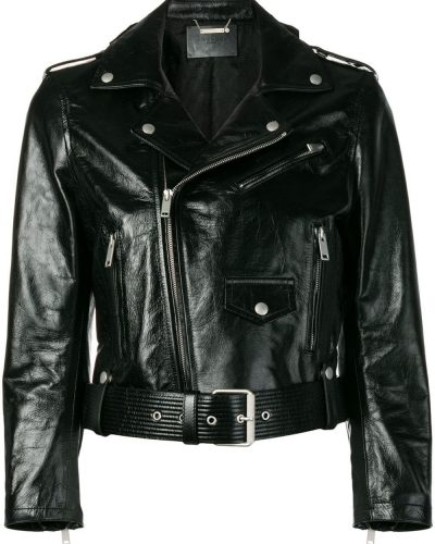 Stylish Vinyl Biker Jacket in Black