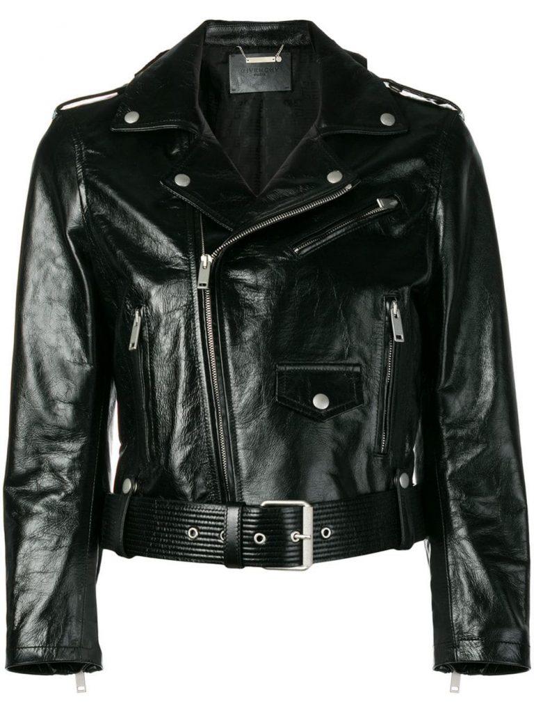 Stylish Vinyl Biker Jacket in Black