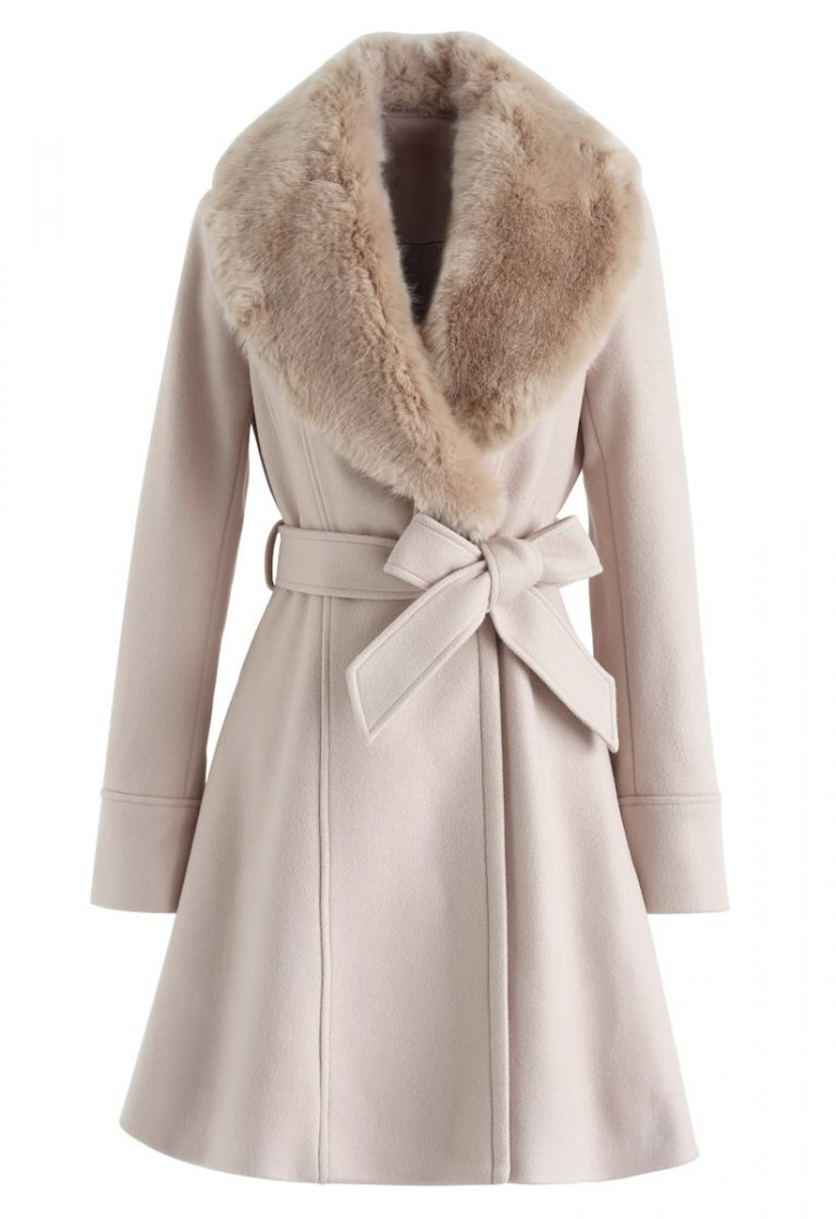 Faux Fur Collar Belted Flare Coat