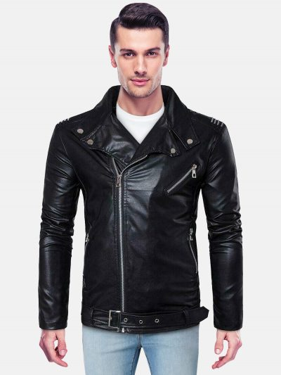 Biker Leather Jacket for Mens back