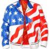 America Flag Bomber Leather Jacket