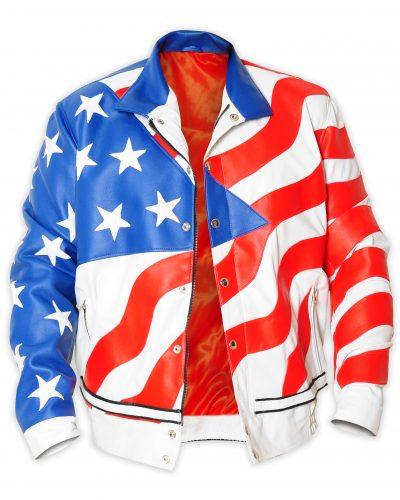 America Flag Bomber Leather Jacket