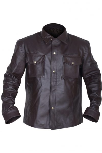 MEN POLISHED BROWN LEATHER JACKET