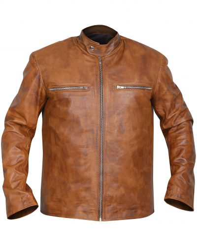 SIMPLE mens Brown Leather Jacket