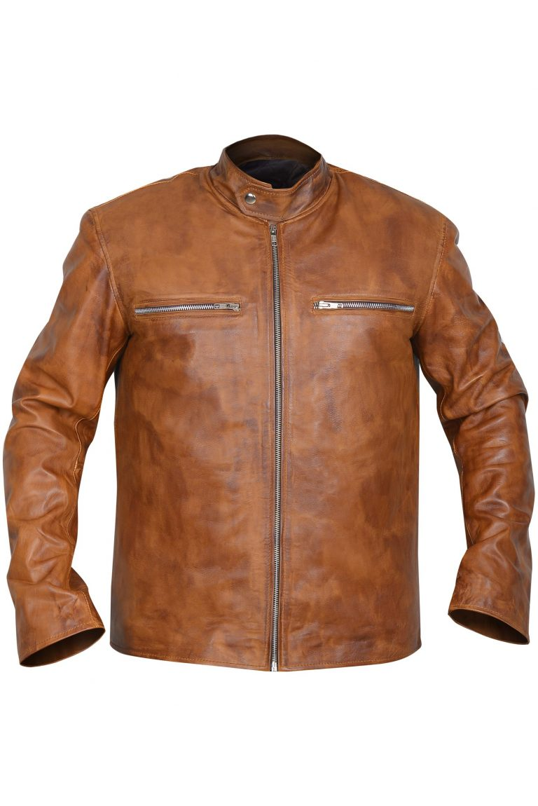 SIMPLE mens Brown Leather Jacket