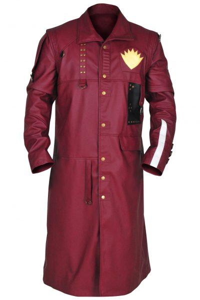MEN STYLISH Maroon Trench Leather Coat