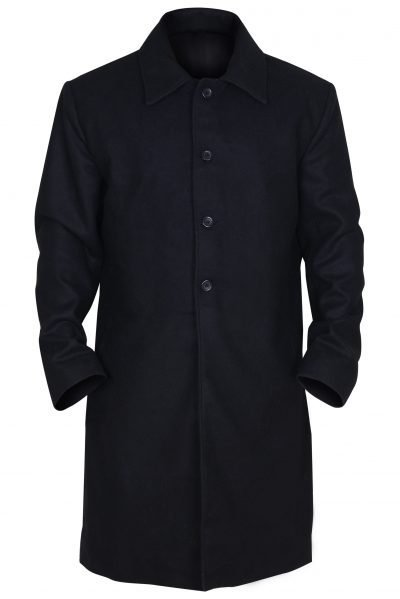 MEN BLACK LEATHER TRENCH COAT
