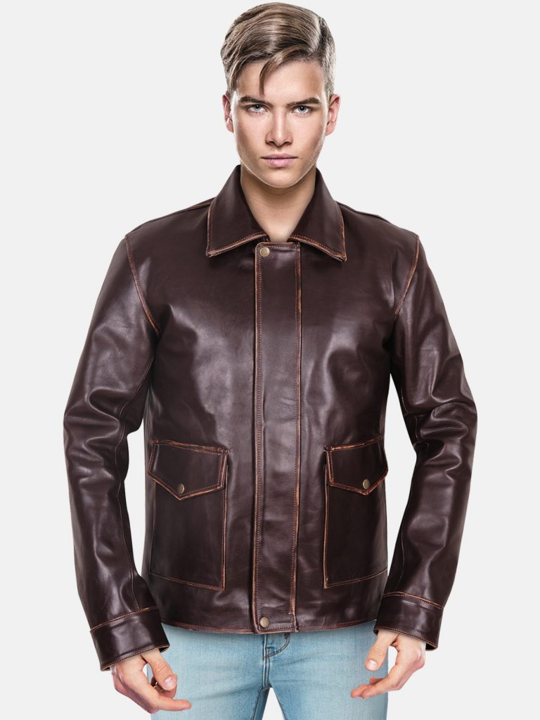 Bomber Brown Leather Jacket (1)