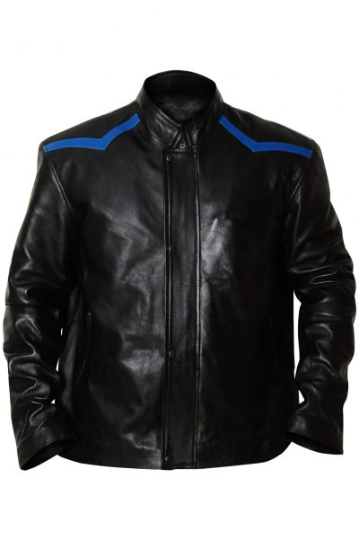MENS BIKER STYLE GENUINE BLACK LEATHER JACKET