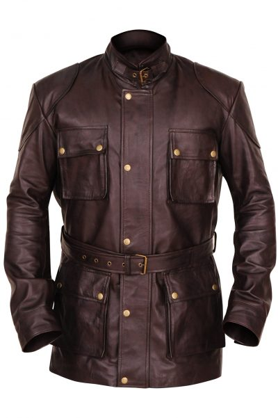 MENS Stylish GENUINE Brown LEATHER JACKET