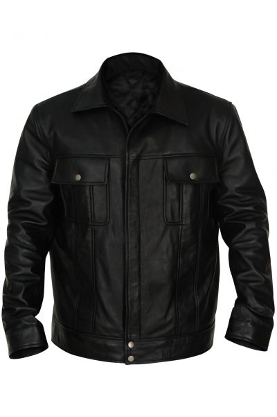 Black Mexican LEATHER Jacket With Front Pocket For Men