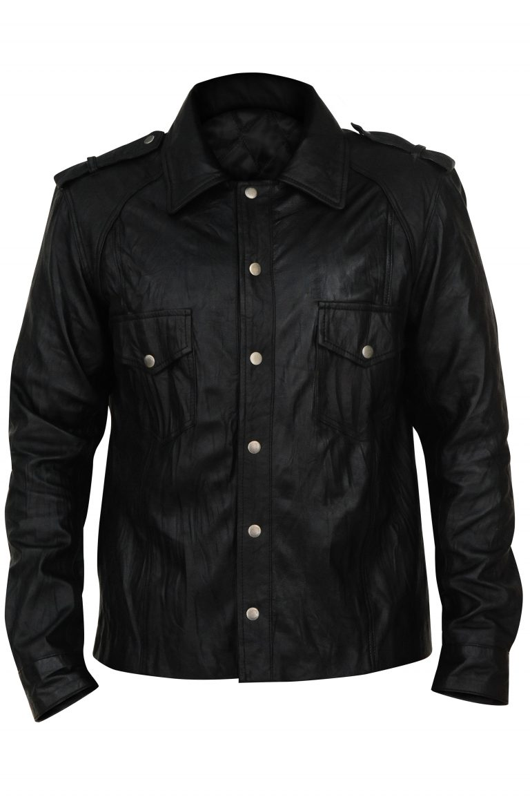Black Cotton Jacket With Front Pocket