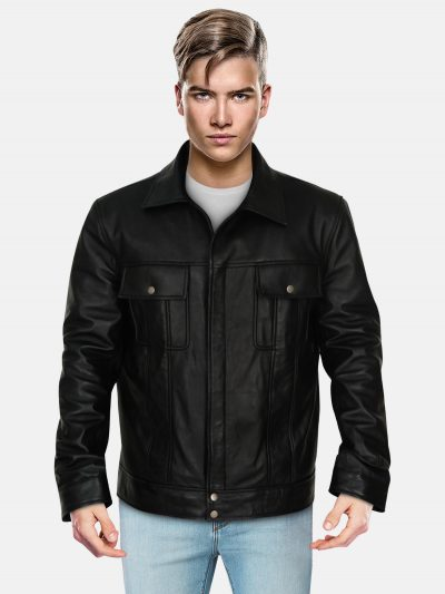 Black-Mexican-Leather-Jacket-With-Front-Pocket-For-Men