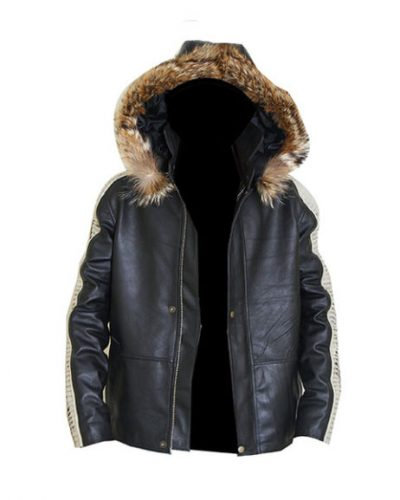 Stylish Hooded Leather Jacket For Men